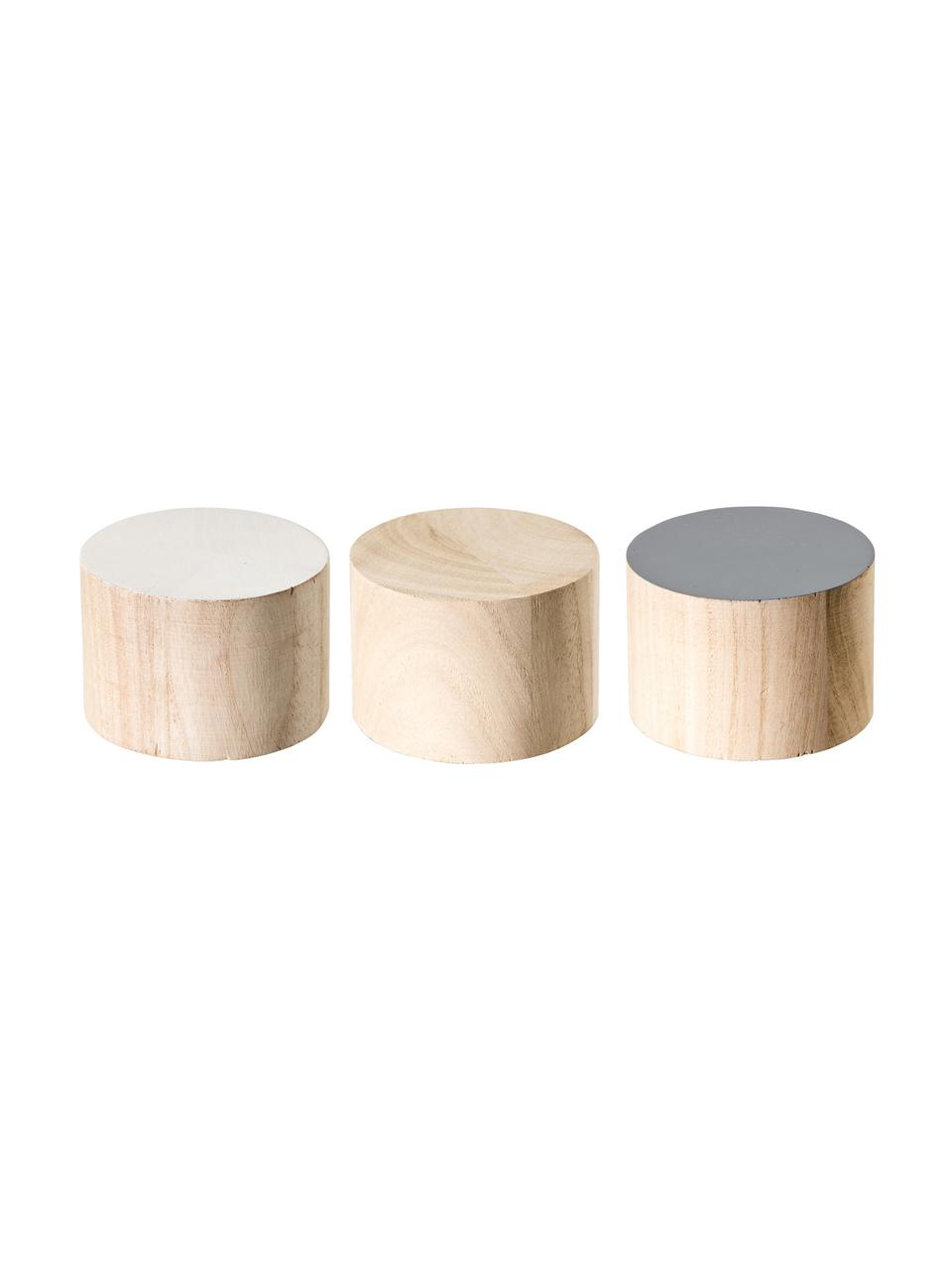 Kleiderhaken-Set Dendi aus Holz, 3-tlg., Paulowniaholz, Braun, Weiß, Grau, Ø 7 x T 5 cm