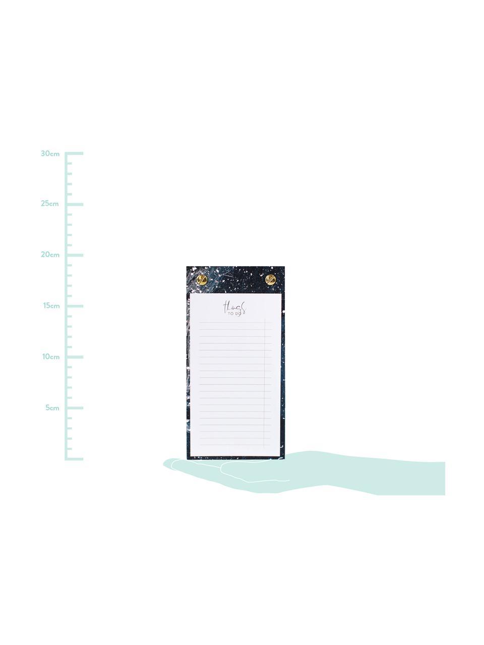 Notizblock To-Do, Dunkelblau, Goldfarben, Weiß, 10 x 19 cm