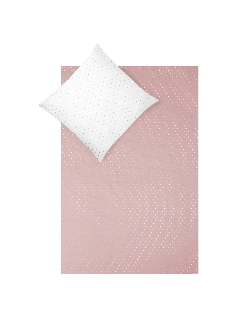 Flanell-Wendebettwäsche Betty, gepunktet, Webart: Flanell Flanell ist ein s, Altrosa, Weiß, 135 x 200 cm + 1 Kissen 80 x 80 cm