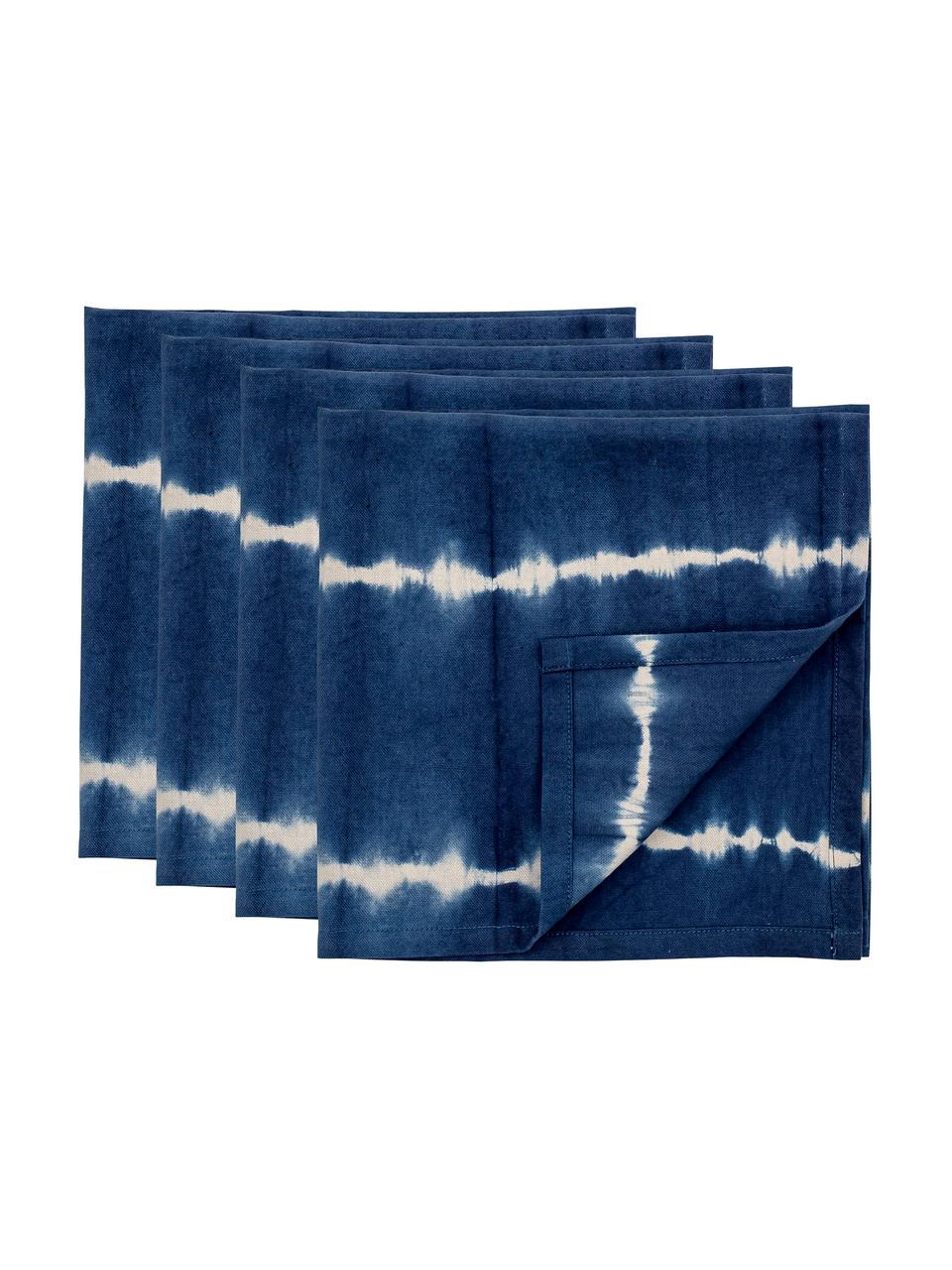 Tovagliolo in cotone effetto batik Alden 4 pz, Cotone, Blu, Larg. 45 x Lung. 45 cm