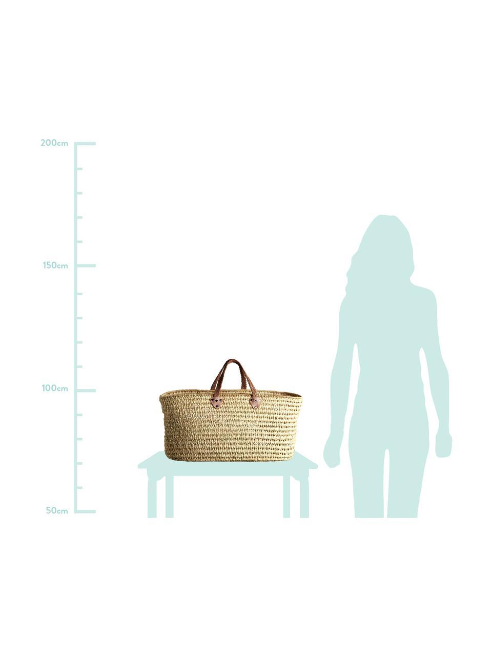 Einkaufstasche Lea, Henkel: Leder, Beige, 60 x 30 cm