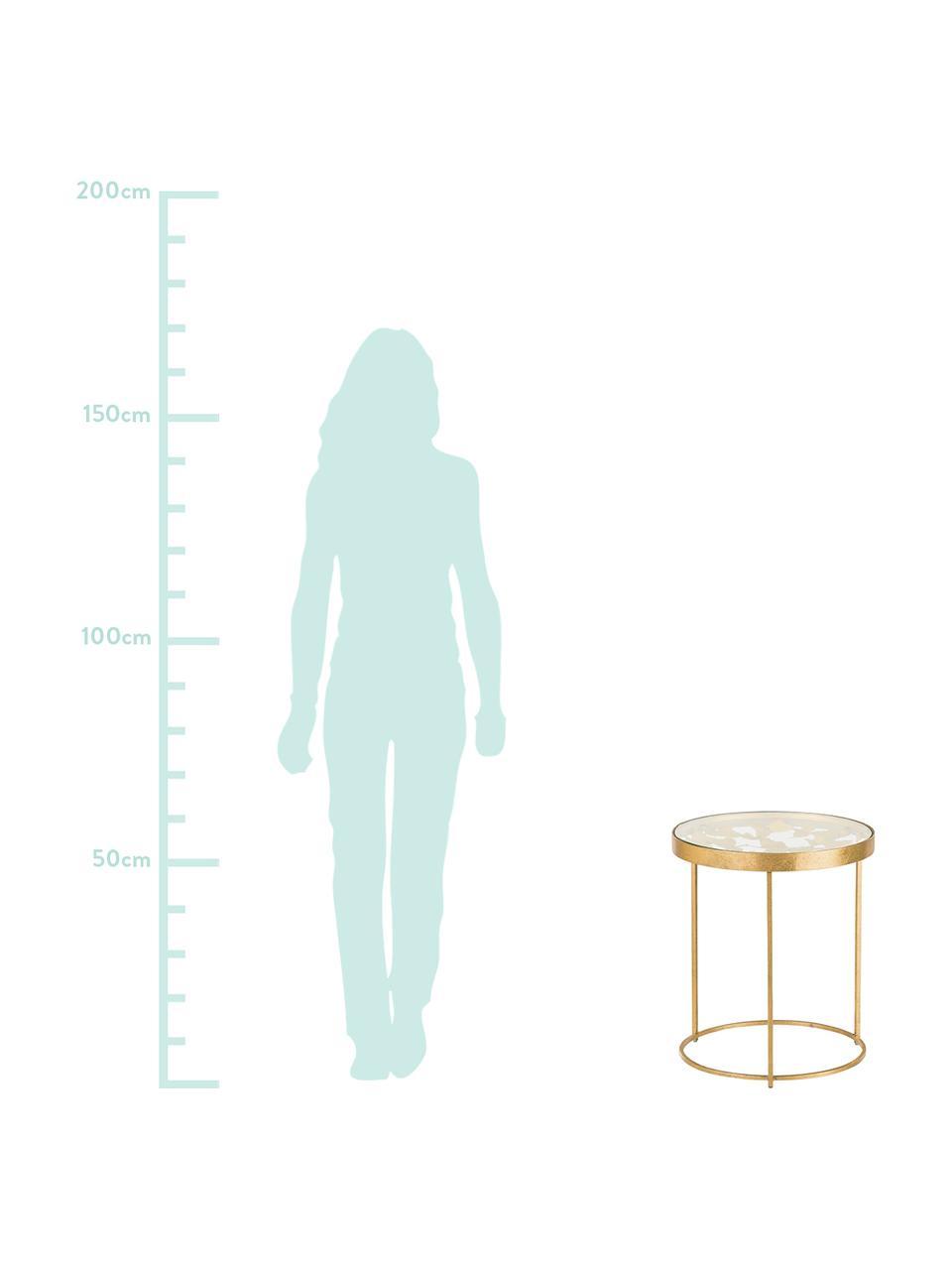 Beistelltisch Butterfly mit Glasplatte, Tischplatte: Glas, Gestell: Metall, beschichtet, Goldfarben, Ø 45 x H 52 cm