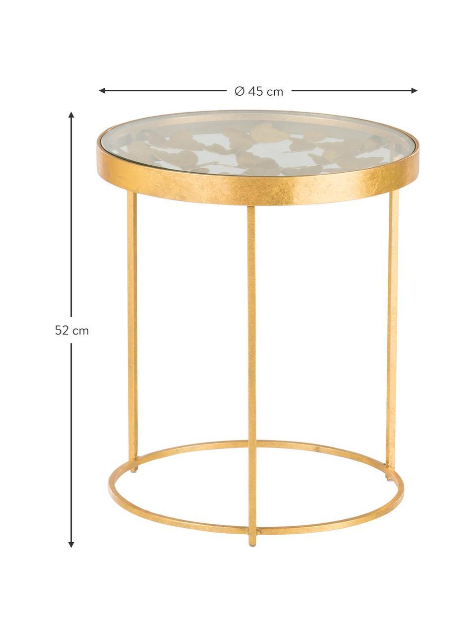 Table d'appoint avec plateau en verre Butterfly, Couleur dorée