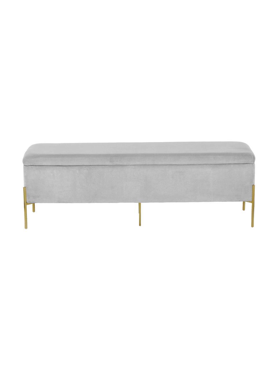 Tapicerowana ławka z aksamitu ze schowkiem Harper, Tapicerka: aksamit bawełniany 20000, Noga: metal malowany proszkowo, Jasny szary, S 140 x W 45 cm