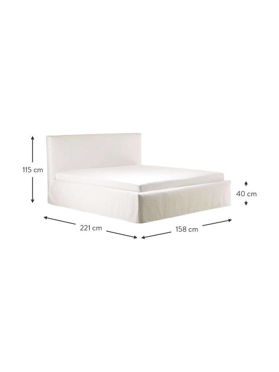 Beige gestoffeerd bed Feather met opbergruimte, Frame: massief grenenhout en pla, Bekleding: polyester (structuurmater, Geweven stof ecru, 180 x 200 cm
