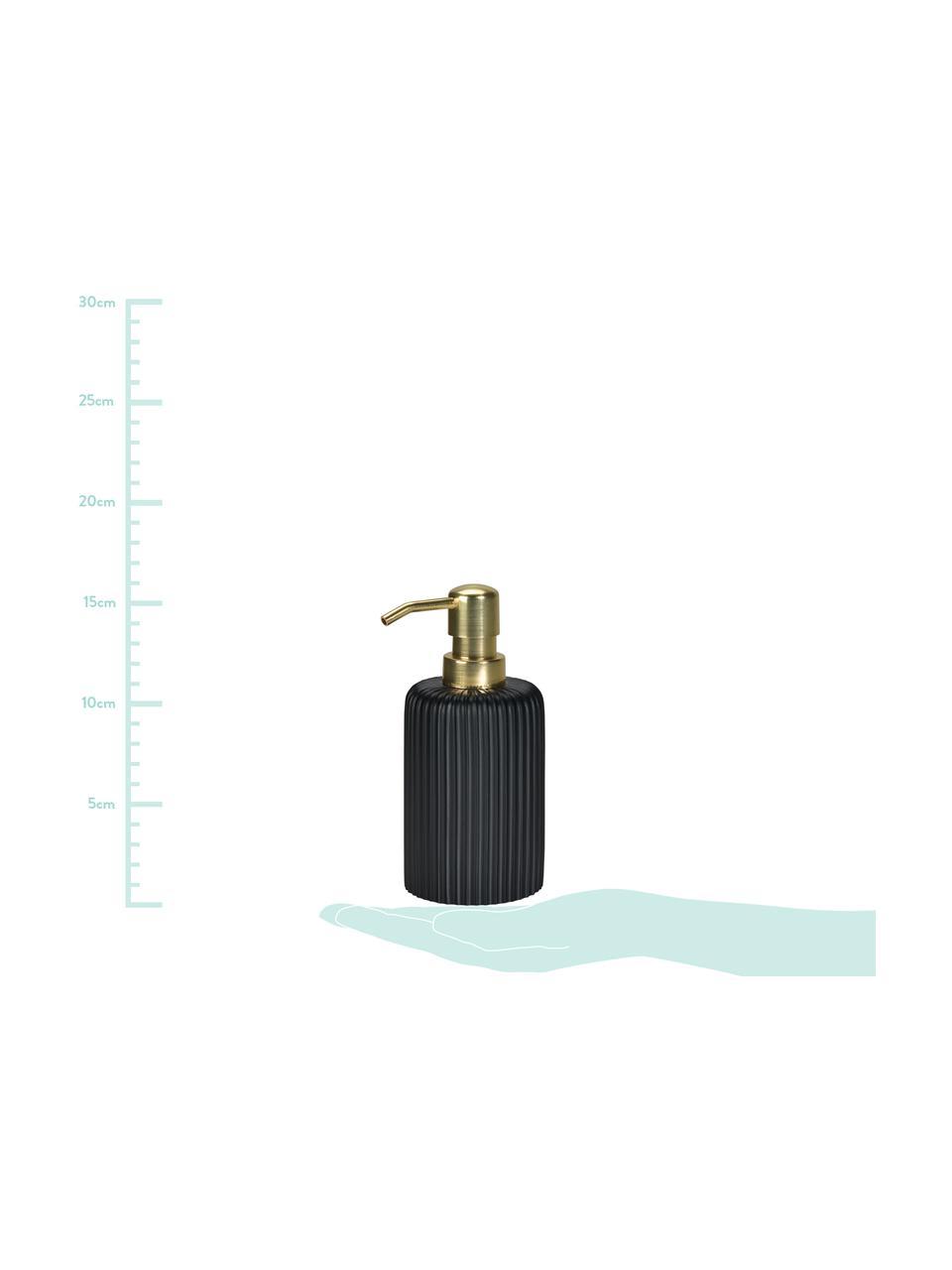 Zeepdispenser Blackheath, Houder: polyresin, Pompje: kunststof, Zwart, messingkleurig, Ø 7 x H 16 cm