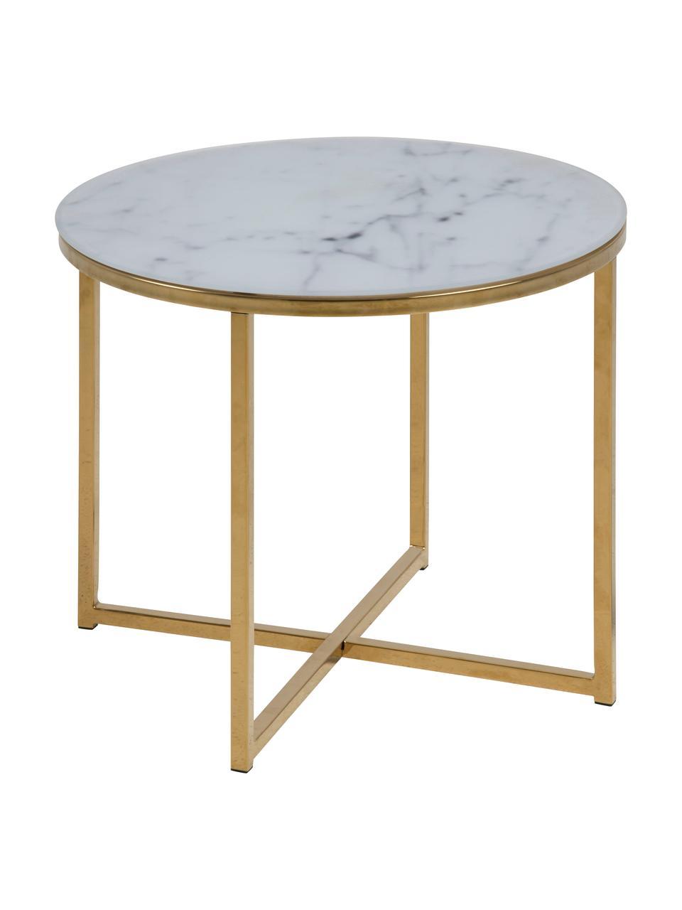 Table d'appoint en verre marbré Aruba, Blanc, laiton