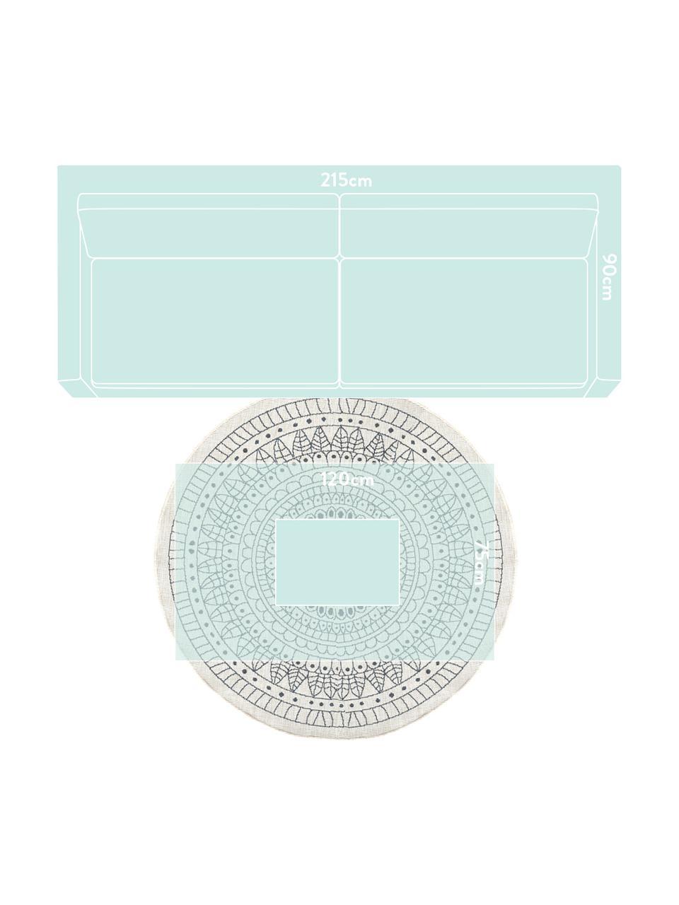 Tappeto reversibile da interno-esterno Porto, Grigio, color crema, Ø 140 cm (taglia M)