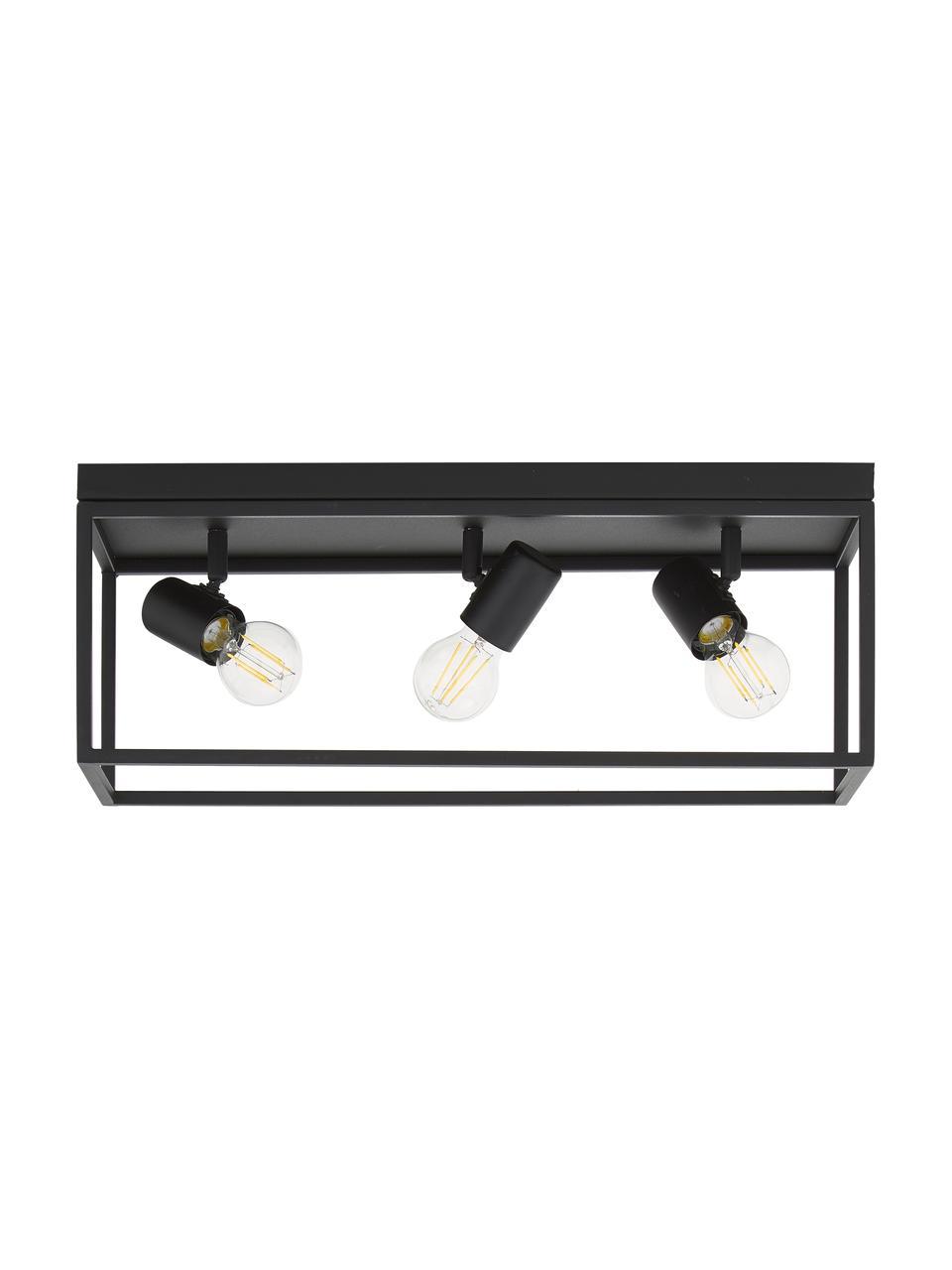 Plafón Silentina, estilo industrial, Acero con pintura en polvo, Negro, An 54 x Al 21 cm