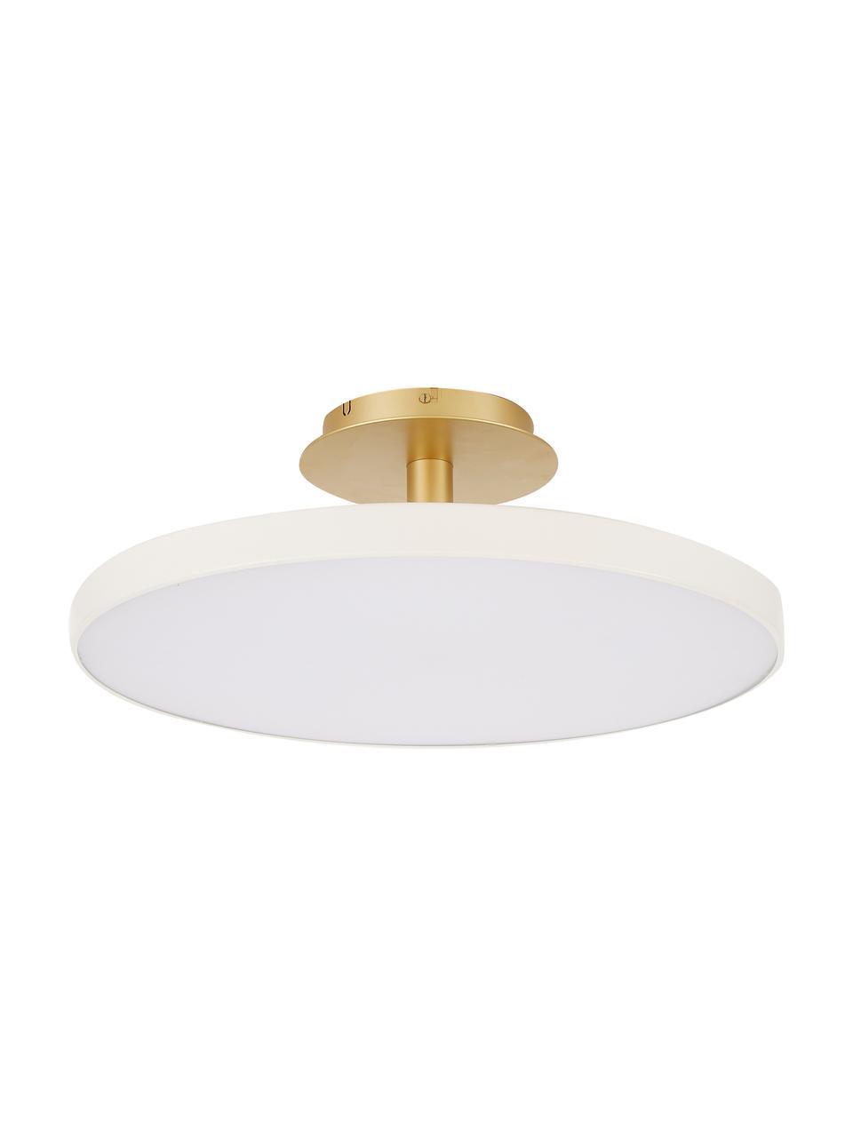 Plafonnier LED design Asteria, Blanc crème, couleur dorée