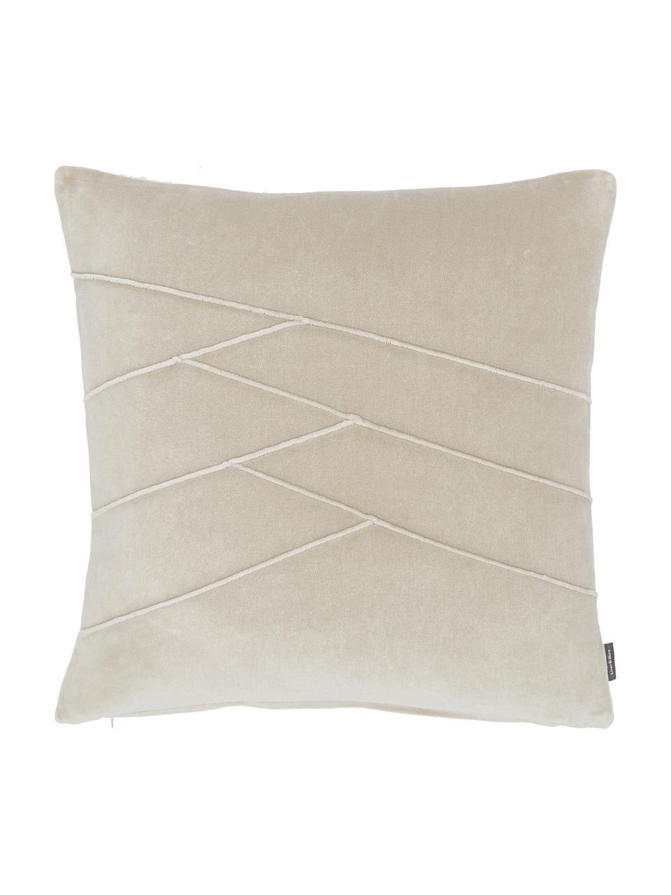 Samt-Kissen Pintuck in Beige, mit Inlett, Bezug: 55% Rayon, 45% Baumwolle, Webart: Samt, Beige, 45 x 45 cm
