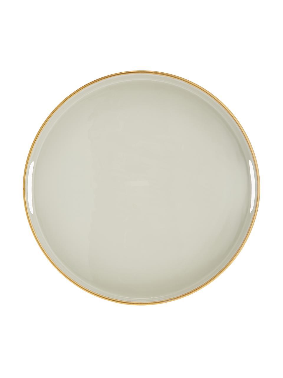 Rond dienblad Dining, Gecoat metaal, Lichtgrijs, goudkleurig, Ø 38 x H 5 cm