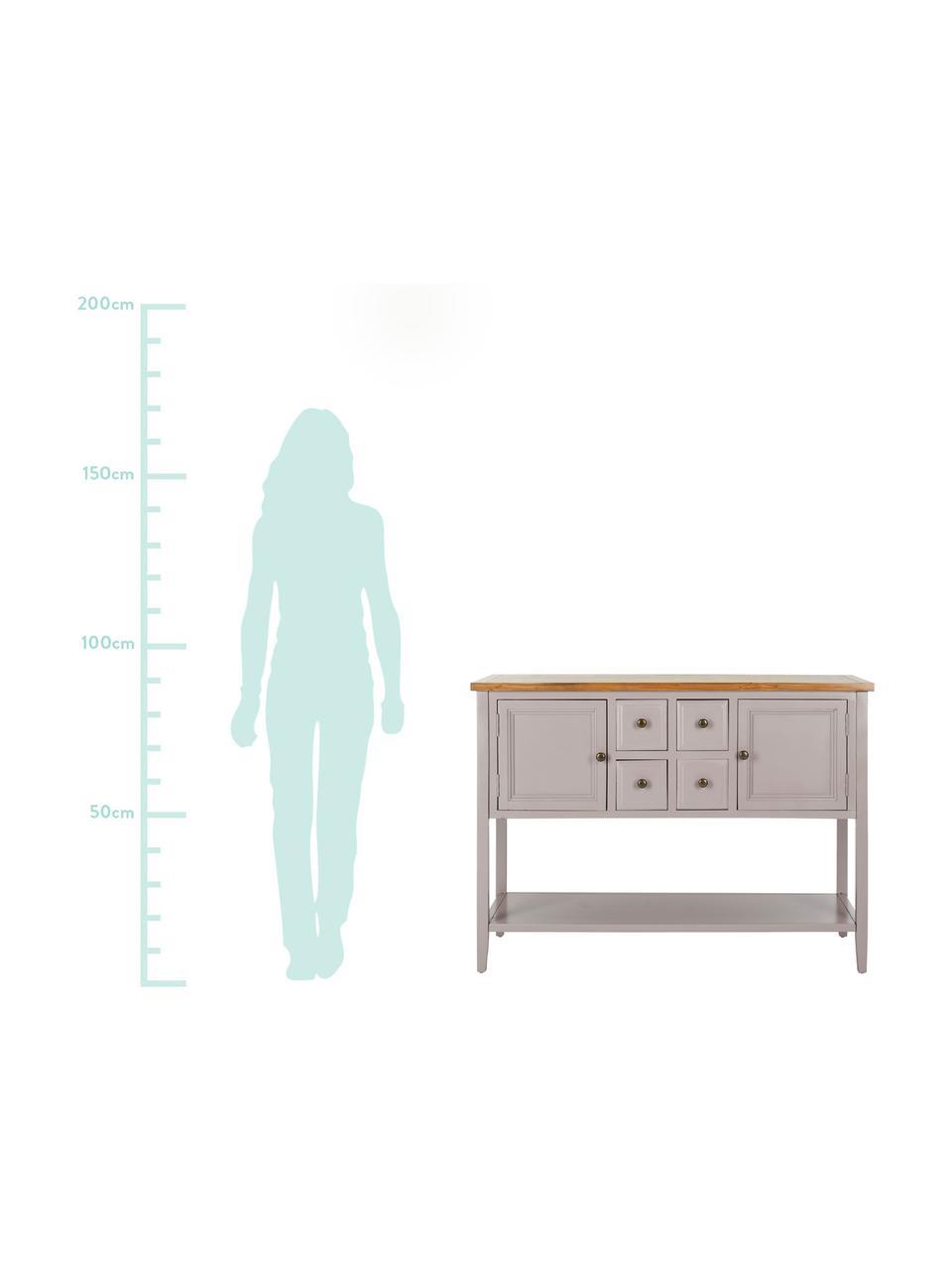 Komoda rustykalna Amy, Korpus: drewno wiązowe, lakierowa, Blat: drewno wiązowe, Jasny szary, S 116 x W 86 cm
