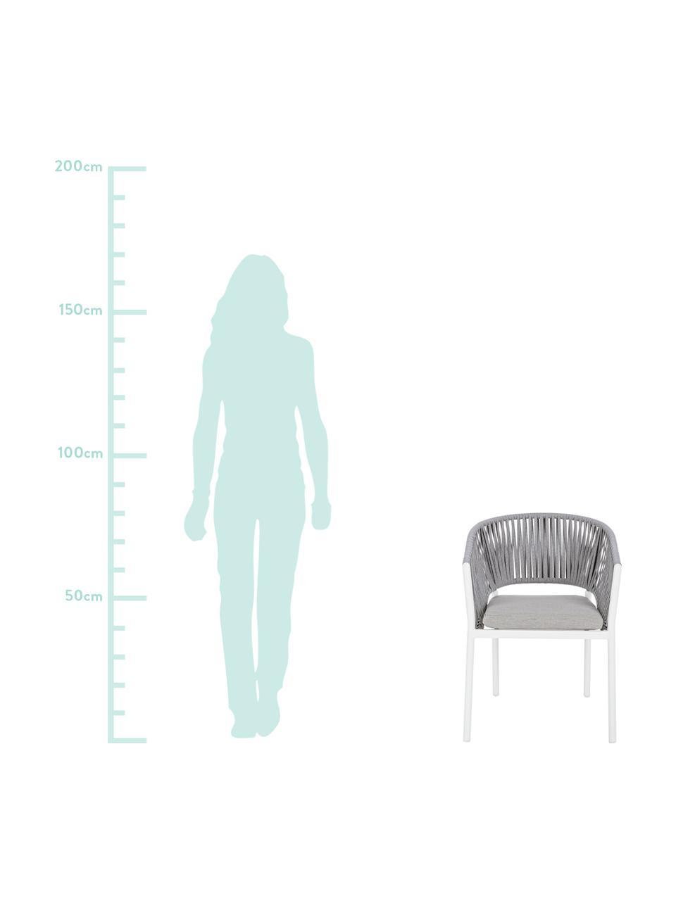 Gartenstuhl Florencia, stapelbar, Sitzkissen: 100% Polypropylen, Gestell: Aluminium, pulverbeschich, Weiß, 60 x 80 cm
