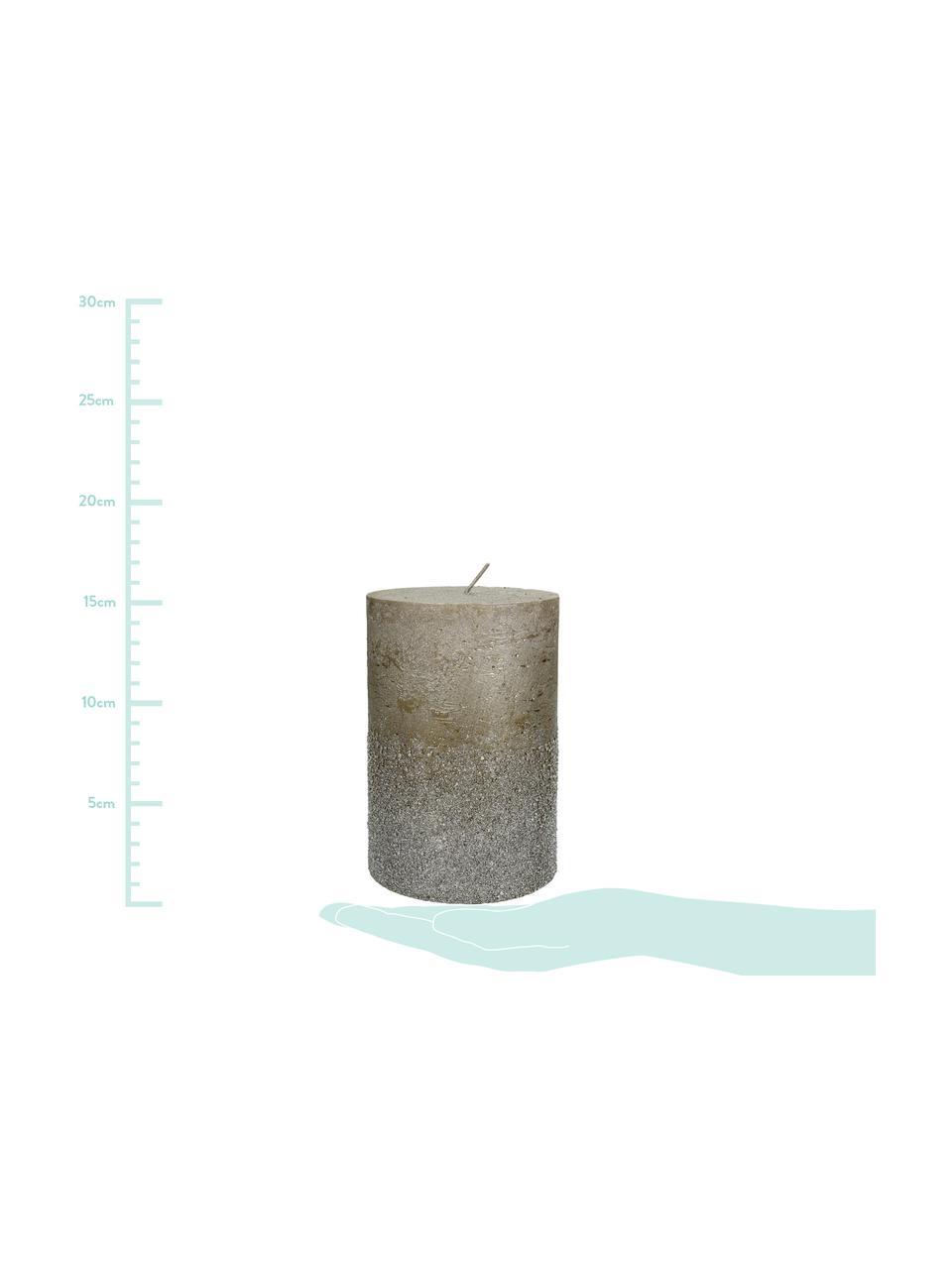Stumpenkerze Glitters, Wachs, Grau, Ø 10 x H 15 cm