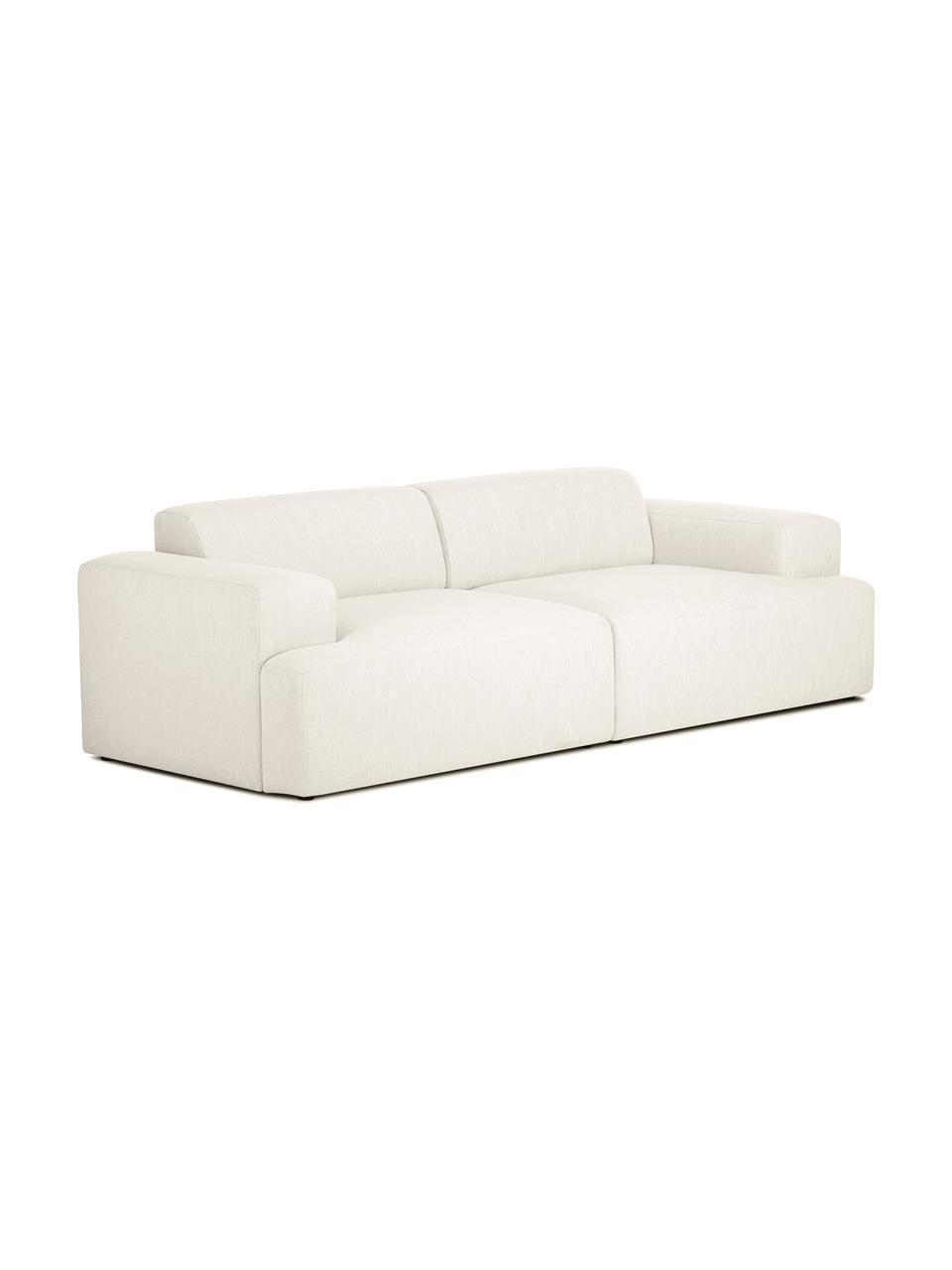 Sofa Melva (3-Sitzer) in Beige, Bezug: Polyester Der hochwertige, Gestell: Massives Kiefernholz, Spa, Füße: Kiefernholz, Webstoff Beige, B 240 x T 101 cm