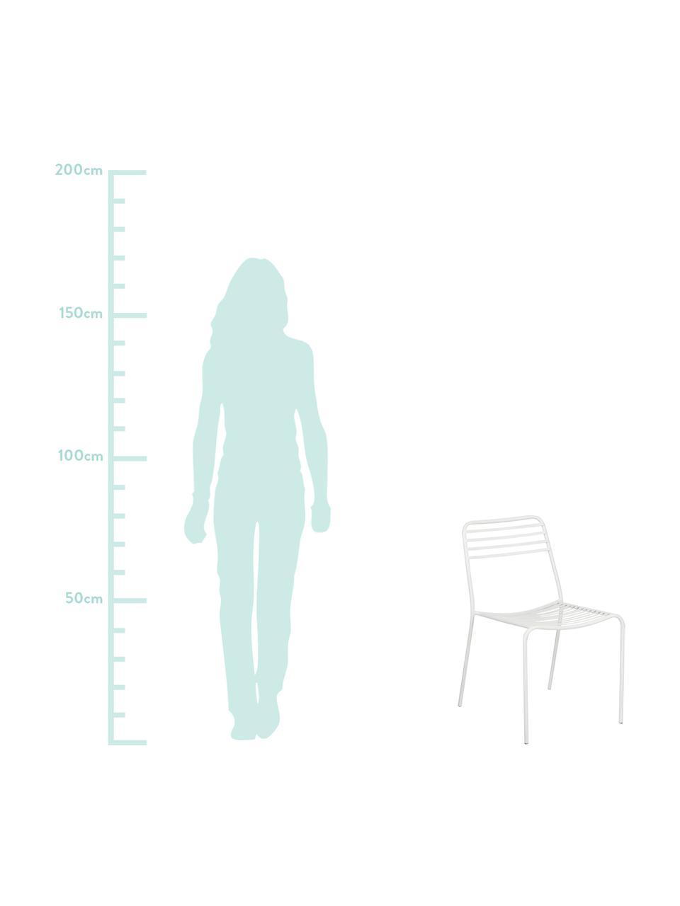 Krzesło balkonowe z metalu Tula, 2szt., Metal malowany proszkowo, Biały, S 48 x G 54 cm
