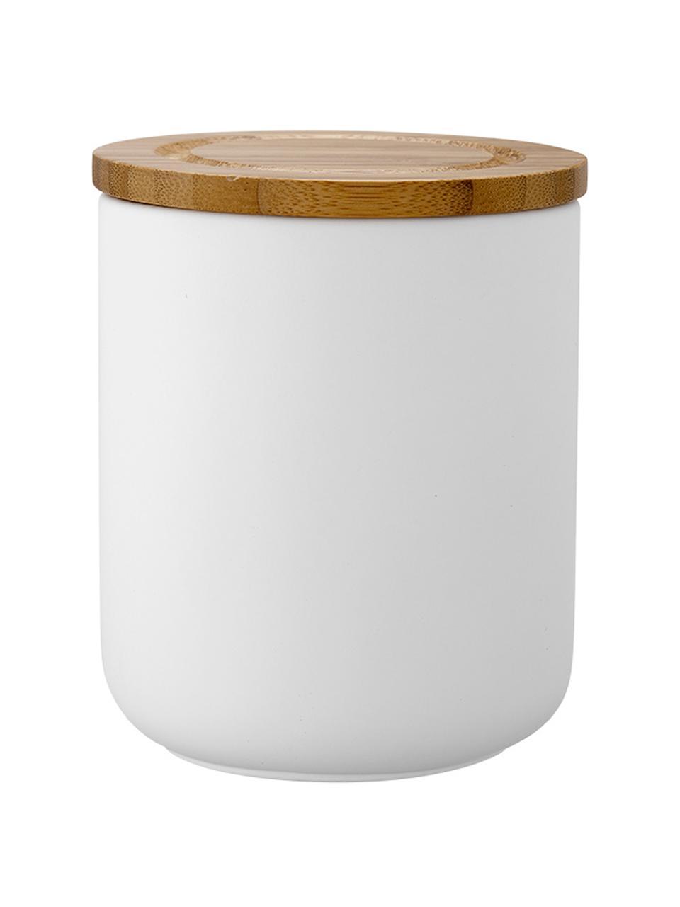 Pojemnik do przechowywania Stak, Biały, drewno bambusowe, Ø 10 x W 13 cm