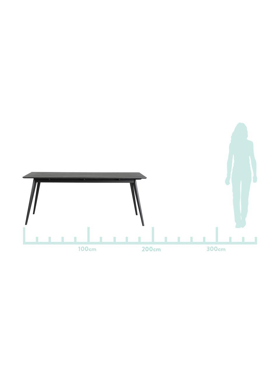 Holz-Esstisch Yumi in Schwarz, Tischplatte: Mitteldichte Holzfaserpla, Beine: Gummibaumholz, massiv, ge, Schwarz, matt, B 190 x T 90 cm