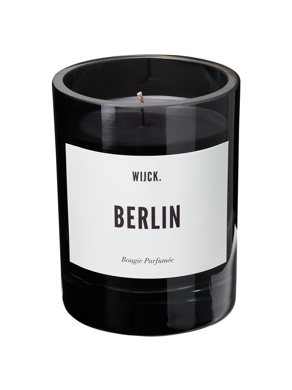 Duftkerze Berlin (Grüne Zitrone, Maiglöckchen & Moschus), Behälter: Glas, mundgeblasen, Schwarz, Ø 8 x H 11 cm