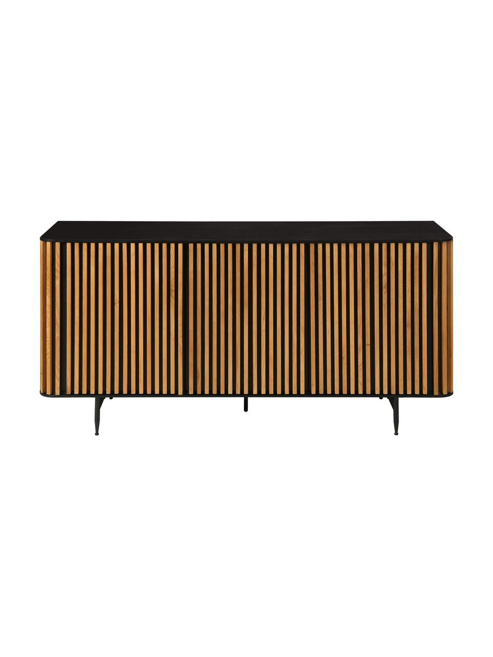 Credenza di design con finitura in quercia Linea, Piedini: metallo verniciato, Nero, legno di quercia, Larg. 159 x Alt. 74 cm