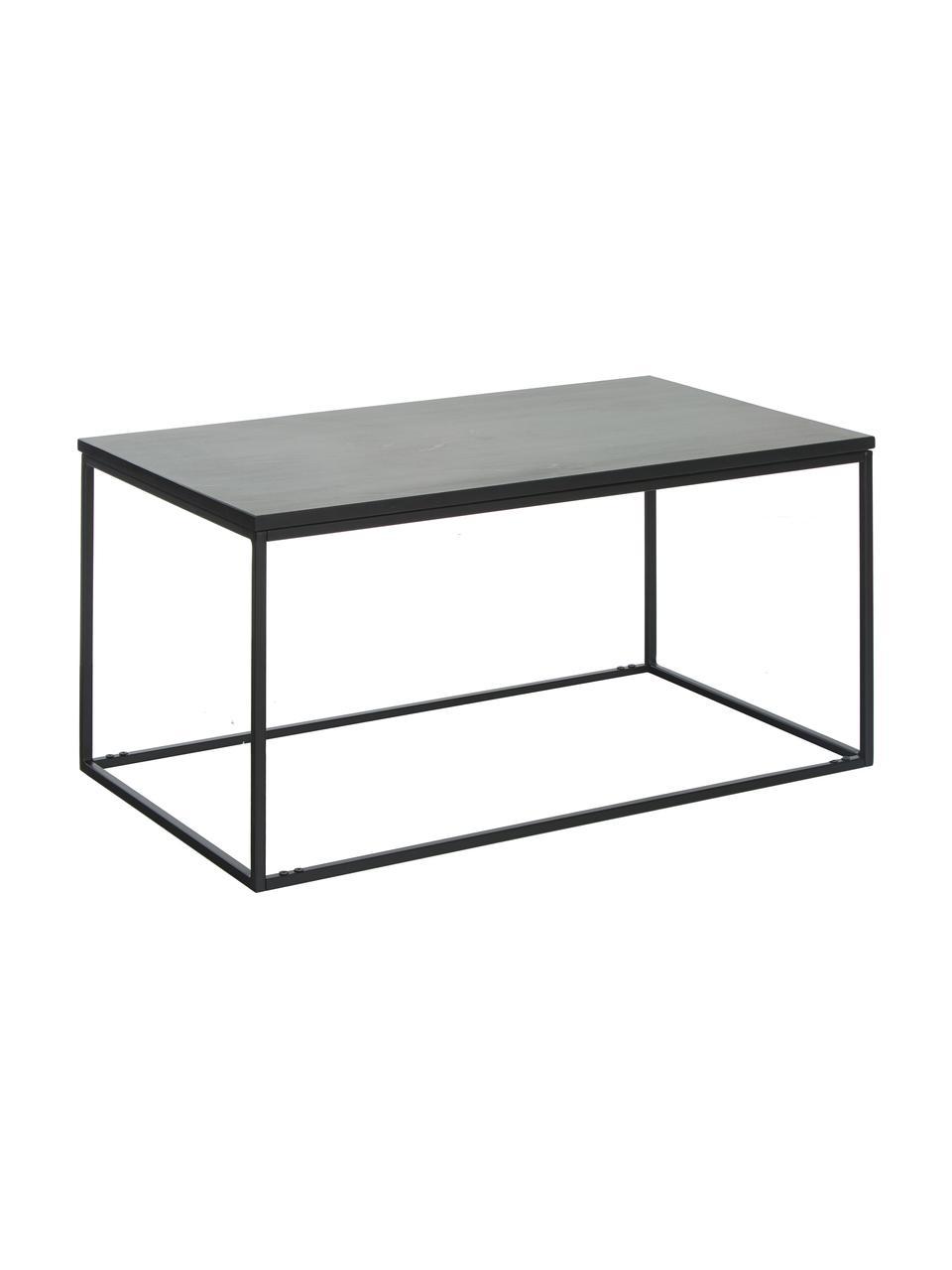 Marmor-Couchtisch Alys, Tischplatte: Marmor, Gestell: Metall, pulverbeschichtet, Tischplatte: Schwarzer Marmor, leicht glänzendGestell: Schwarz, matt, 80 x 40 cm