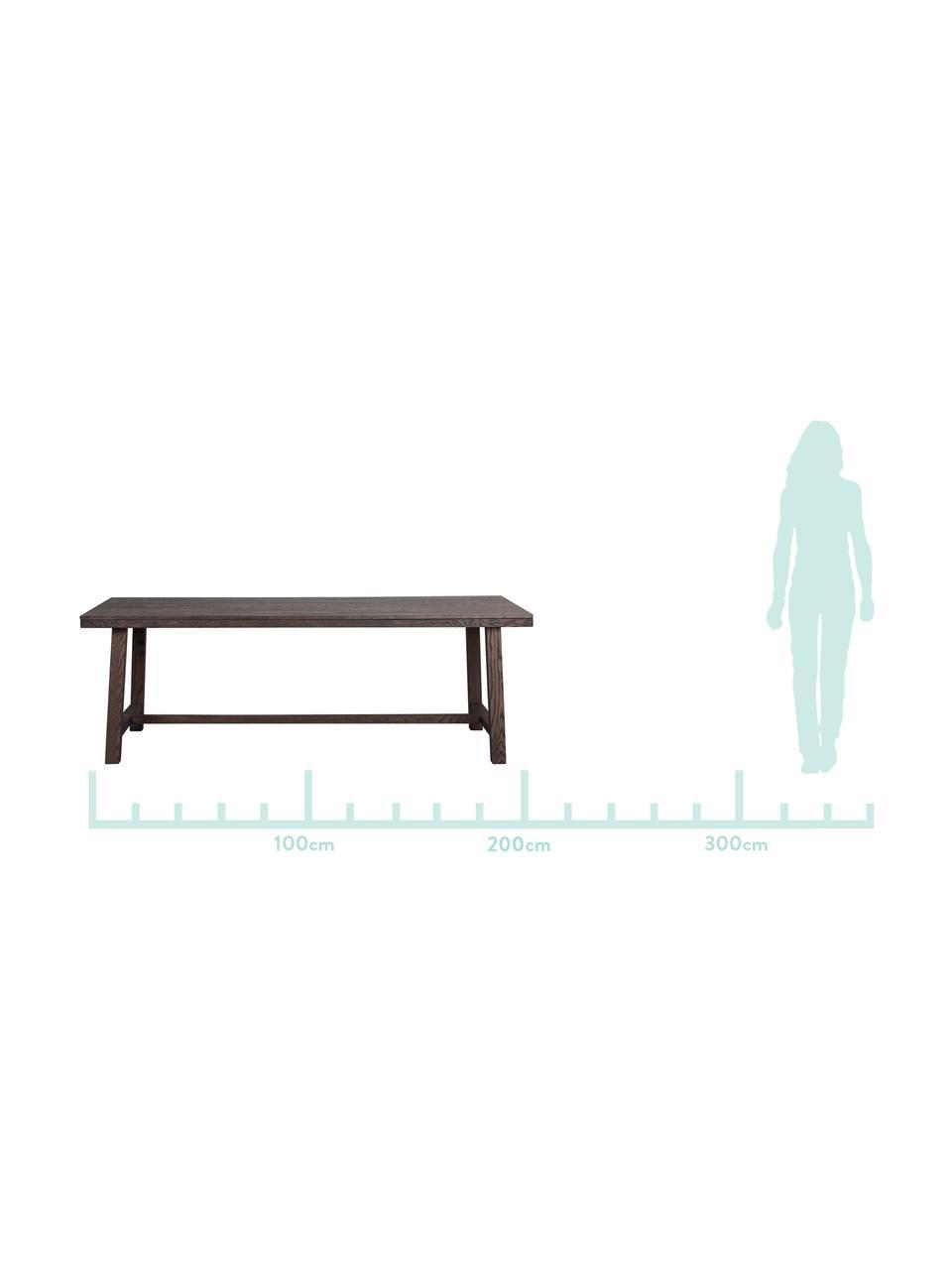 Großer Massivholz Esstisch Brooklyn, Massives Eichenholz, gebeizt und klarlackiert, Eiche, Dunkelbraun gebeizt, B 220 x T 95 cm