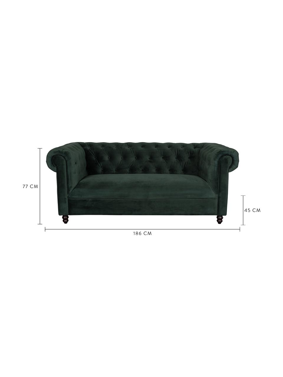 Canapé Chesterfield 2 places velours Chester, Velours vert forêt