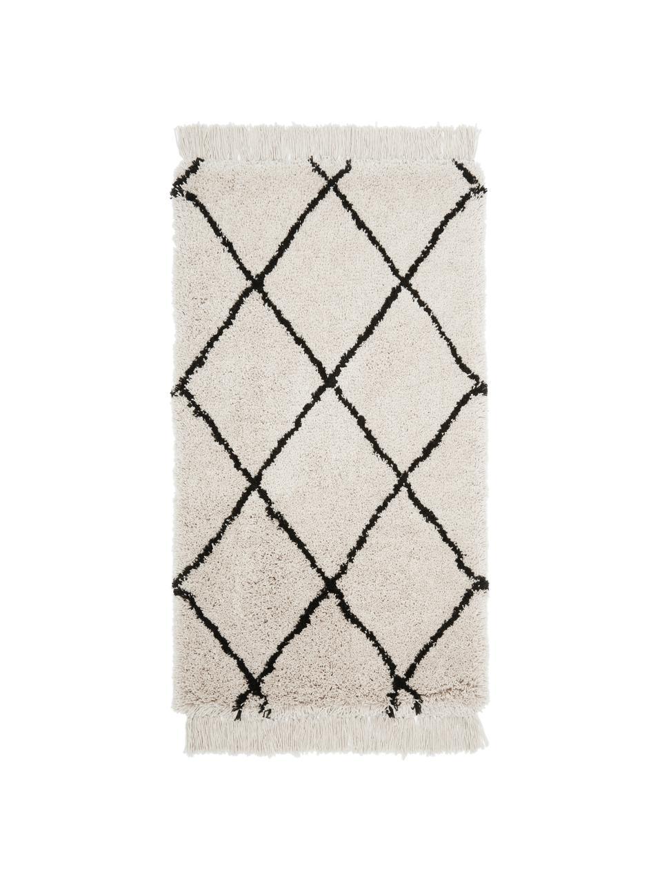 Tappeto taftato a mano con frange Naima, Retro: cotone, Beige, nero, Larg. 200 x Lung. 300 cm (taglia L)
