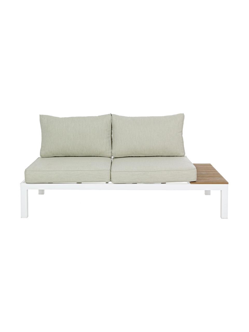 Salon de jardin aluminium Elias, 4élém., Blanc, bois de teck, beige