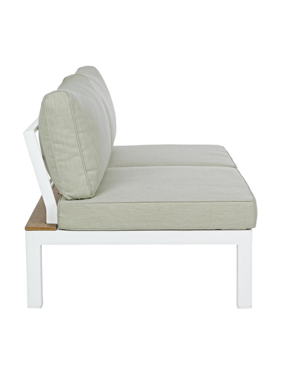 Outdoor loungeset Elias, 4-delig , Frame: gepoedercoat aluminium, Zitvlak: gecoat multiplex, Wit, teakhoutkleurig, beige, Set met verschillende formaten