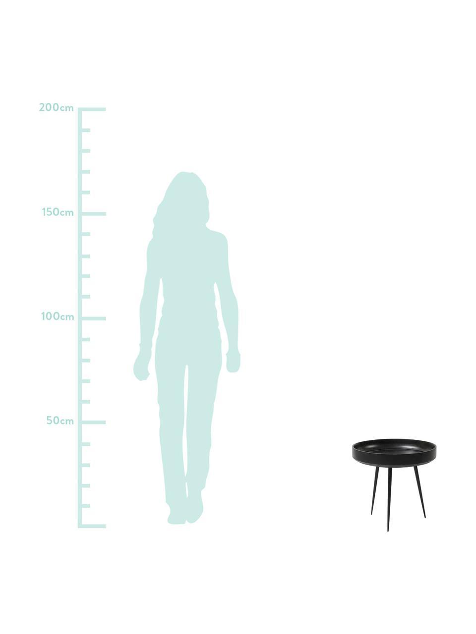 Kleine design bijzettafel Bowl Table van mangohout, Tafelblad: gebeitst en gelakt mangoh, Poten: gepoedercoat staal, Zwart, Ø 40 x H 38 cm