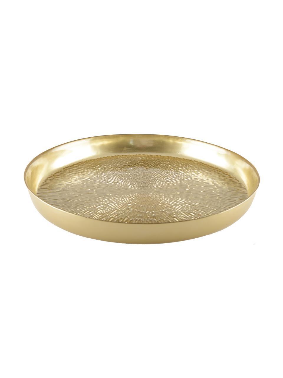 Plateau de service en verre doré Aladora, Ø 35cm, Couleur dorée
