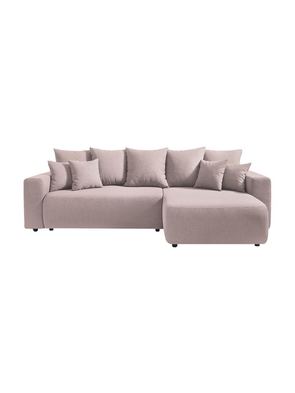 Modułowa sofa narożna z funkcją spania i miejscem do przechowywania Elvi, Tapicerka: poliester, Nogi: tworzywo sztuczne, Blady różowy, S 282 x G 153 cm