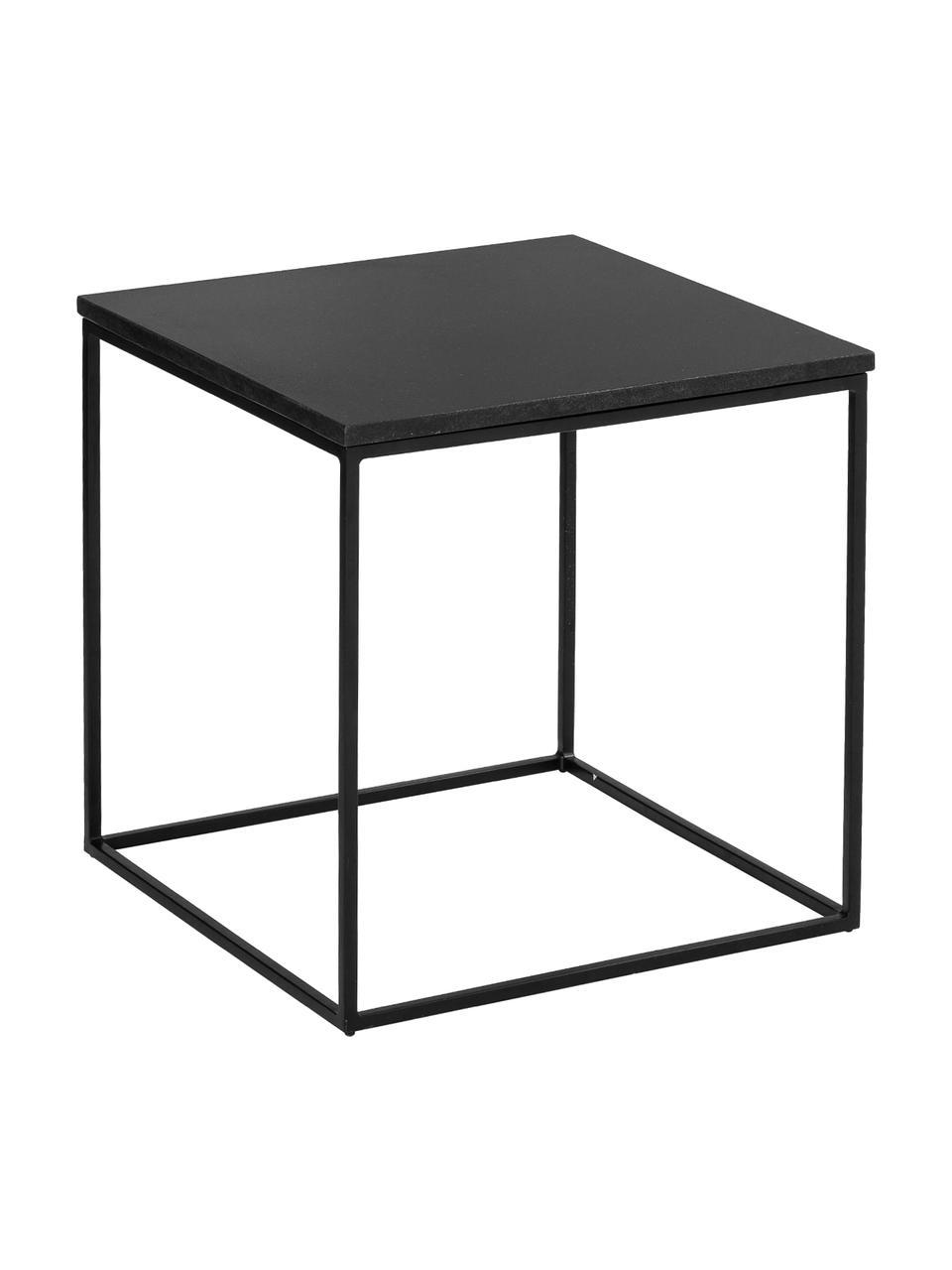 Tavolino in granito Alys, Piano d'appoggio: granito, Struttura: metallo verniciato a polv, Piano d'appoggio: granito nero Struttura: nero opaco, Larg. 50 x Alt. 50 cm