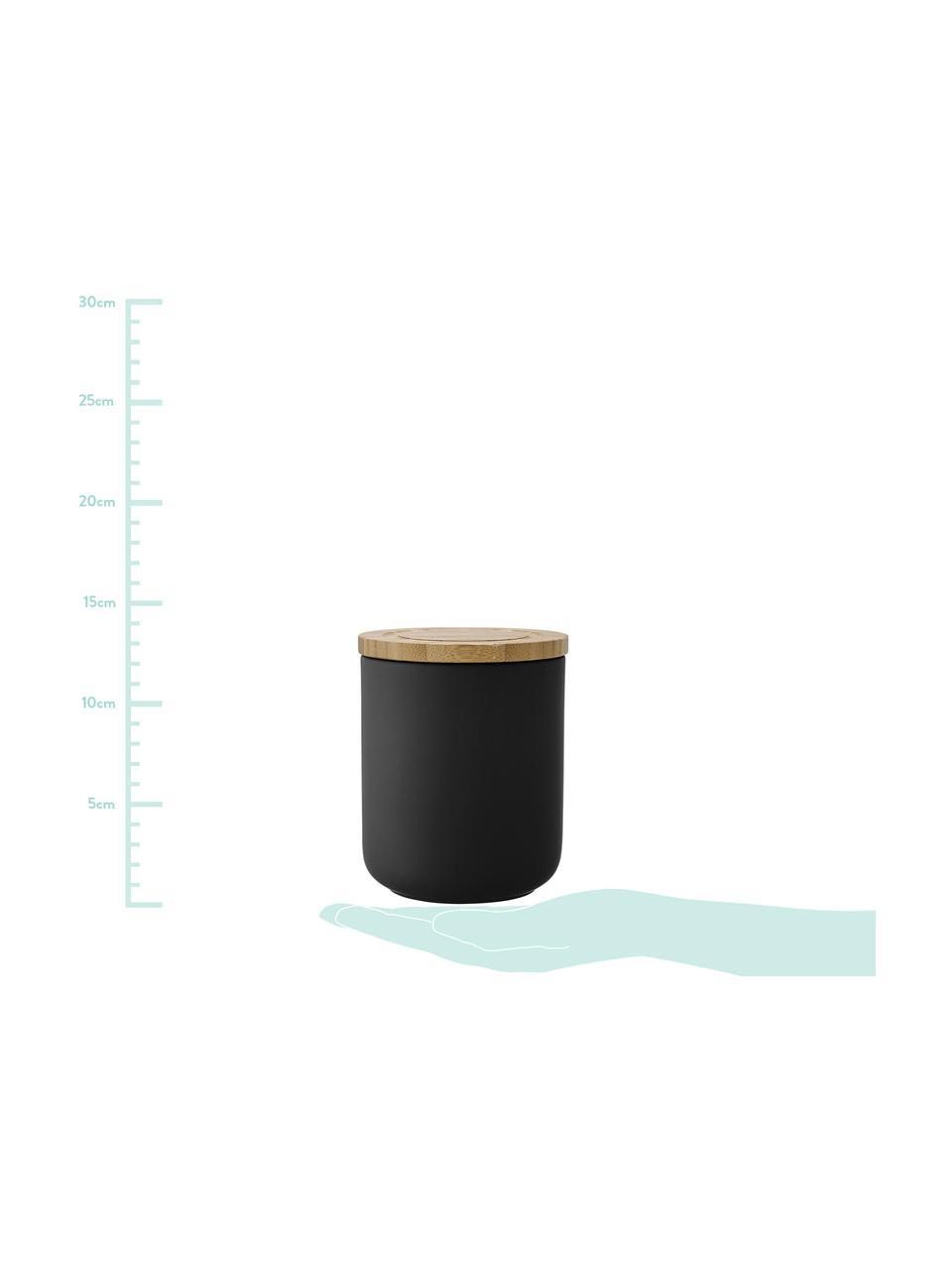 Barattolo con coperchio Stak, Contenitore: ceramica, Coperchio: legno di bambù, Nero, legno di bambù, Ø 10 x Alt. 17 cm