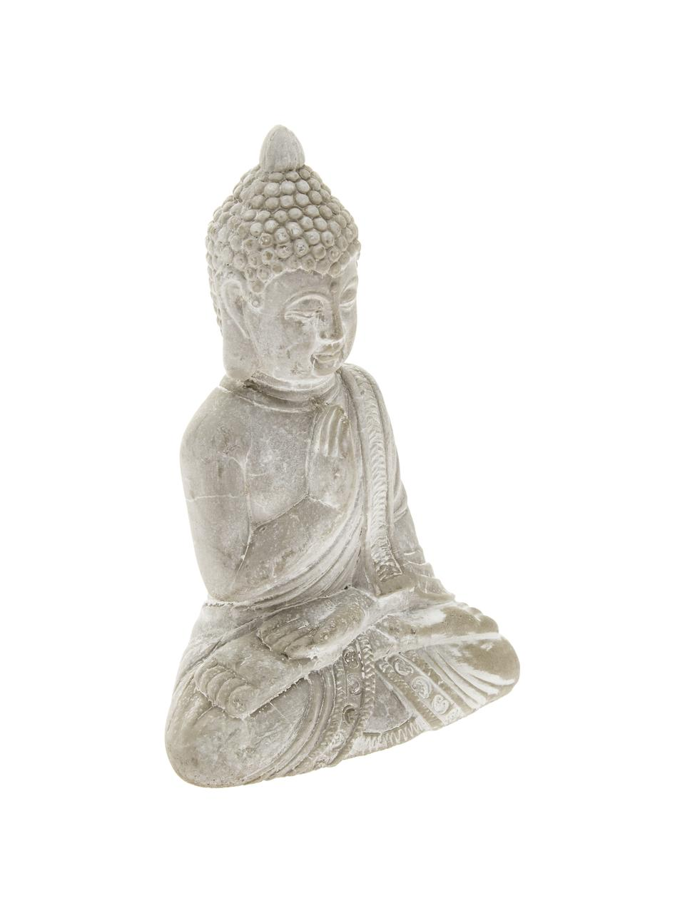 Deko-Objekt-Set Buddha, 2-tlg., Beton, Hellgrau, 9 x 14 cm