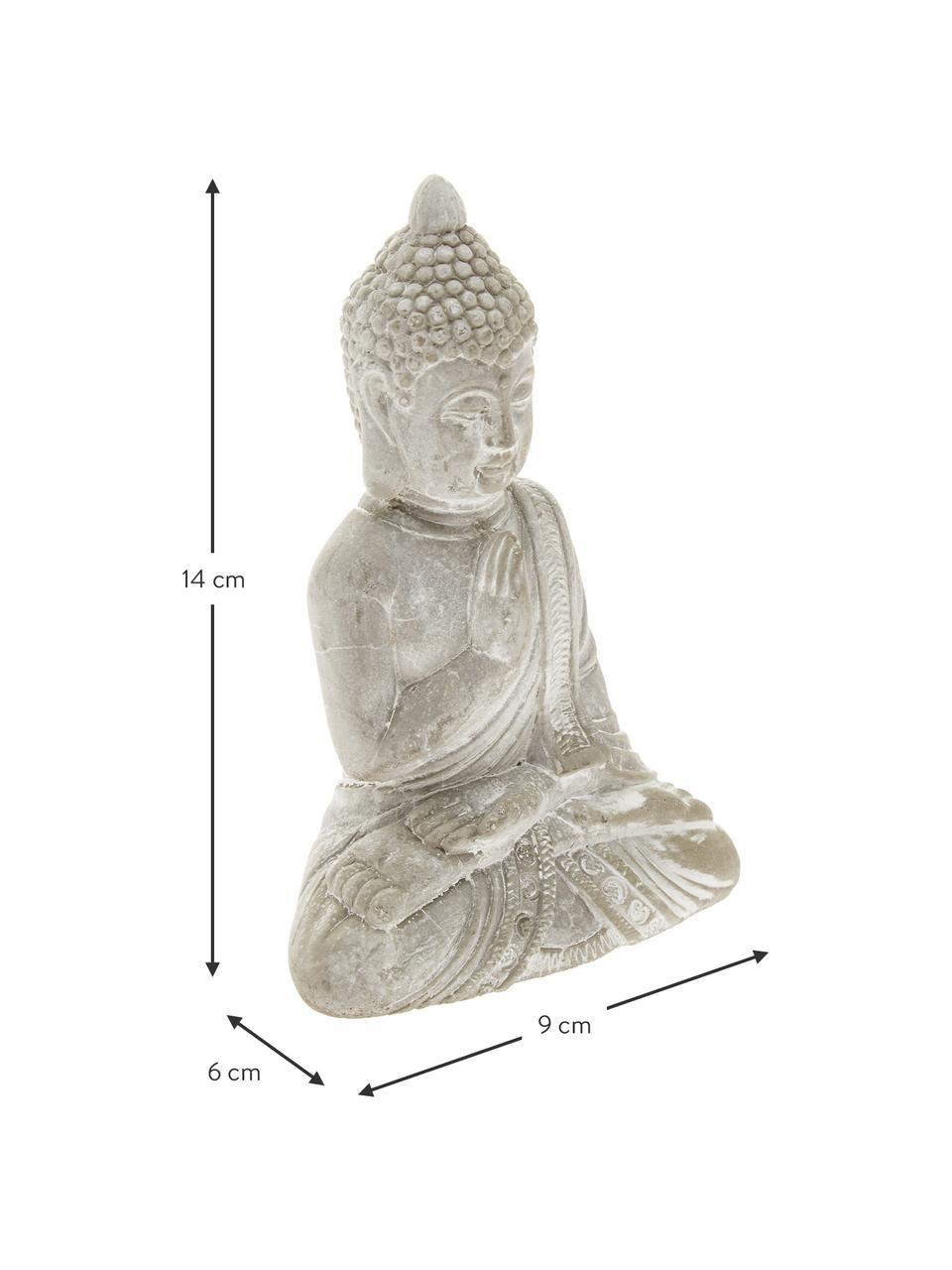 Set oggetti da decorazione Buddha, 2 pz., Cemento, Grigio chiaro, L 9 x A 14 cm