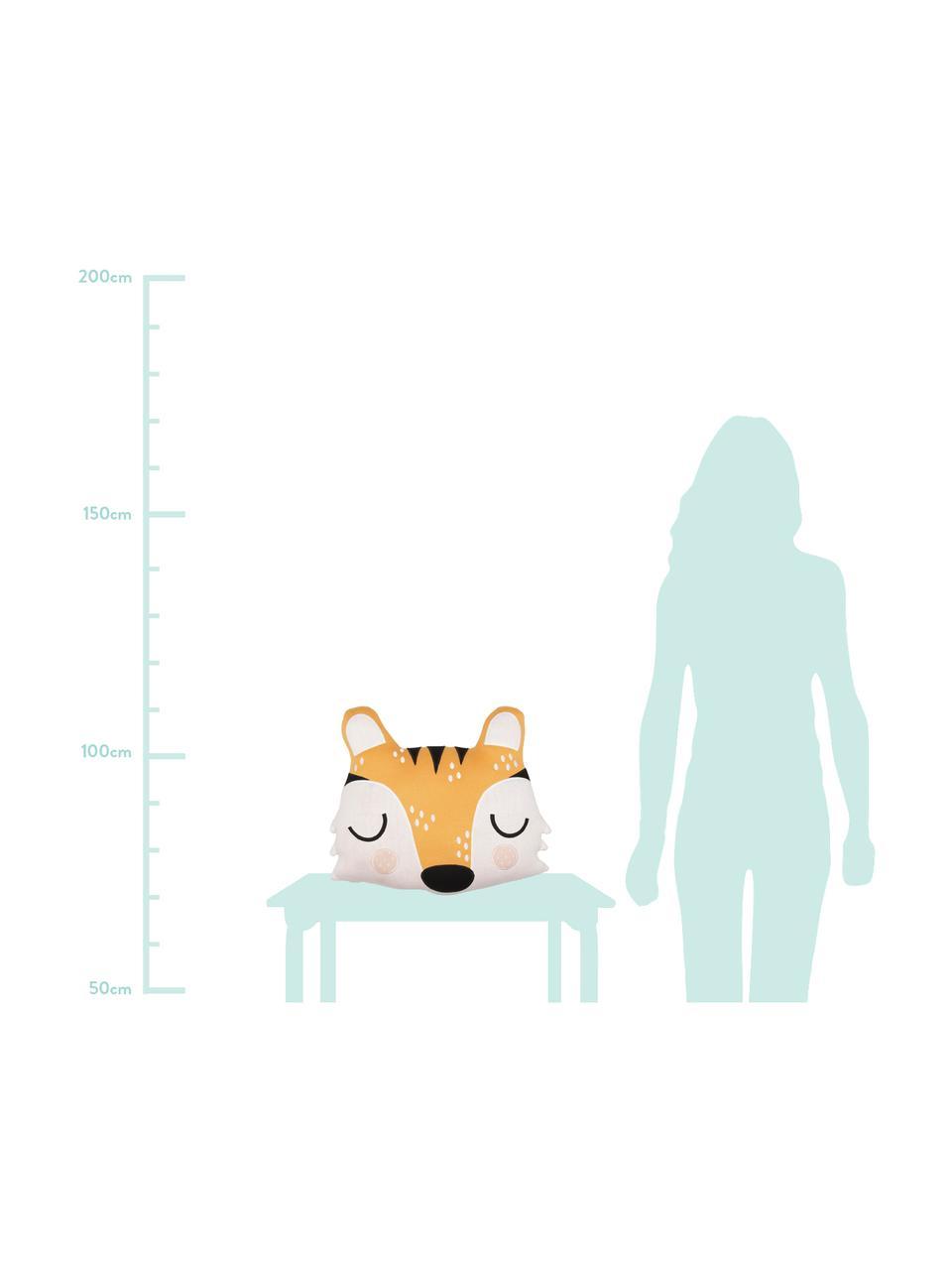 Cuscino soffice in bio cotone Tiger Theo, 100% cotone biologico, certificato GOTS, Grigio, beige, rosa, nero, Larg. 40 x Lung. 45 cm
