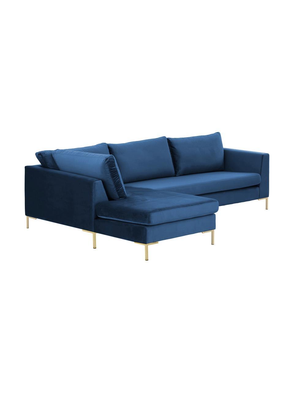 Sofa narożna z aksamitu z metalowymi nogami Luna, Tapicerka: aksamit (100% poliester) , Nogi: metal galwanizowany, Aksamitny niebieski, złoty, S 280 x G 184 cm