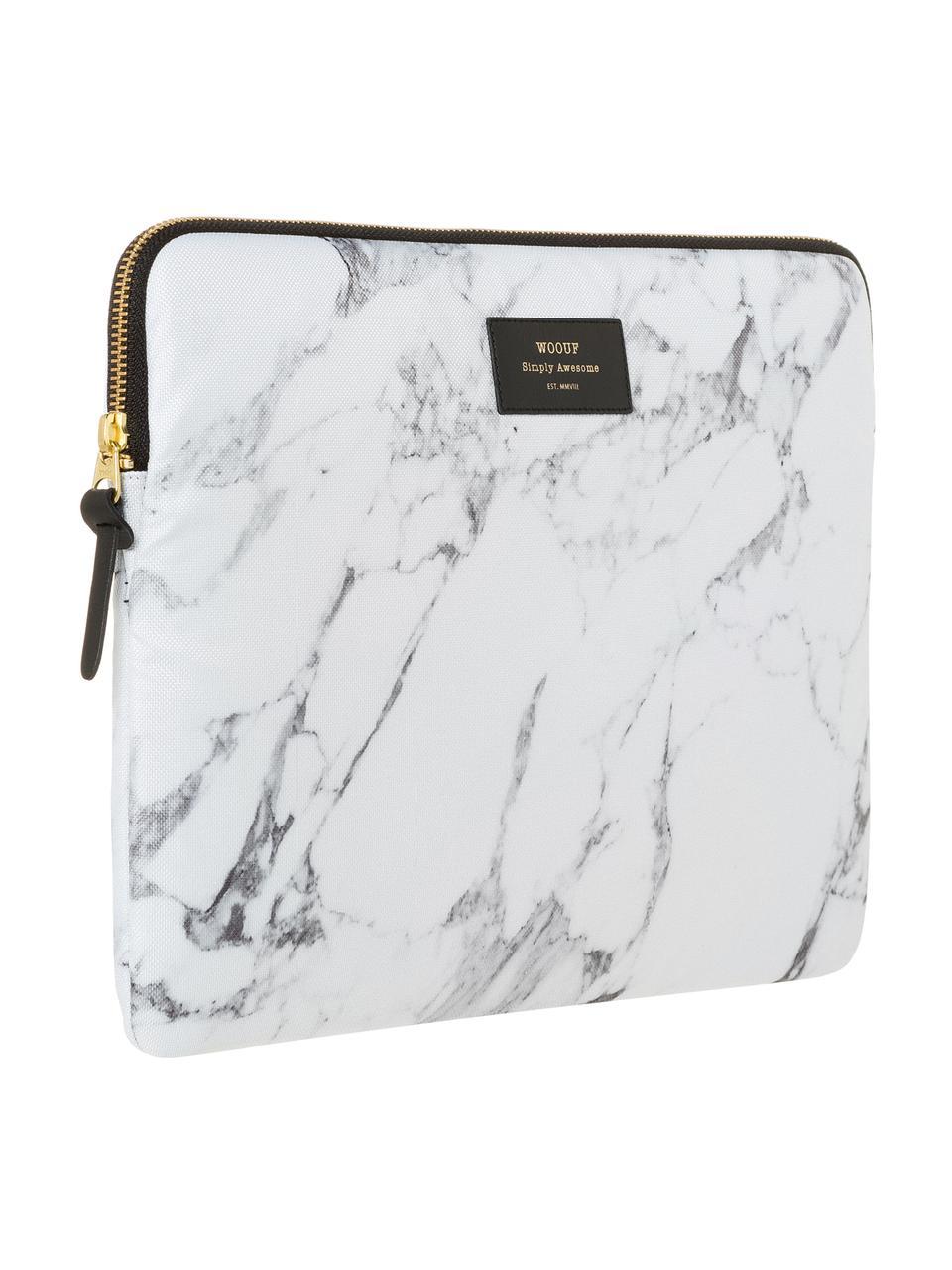 Custodia per MacBook Pro 13 pollici White Marble, Laptop case: bianco, marmo<br>Sovrastampa: nero con carattere dorato, Larg. 34 x Alt. 25 cm