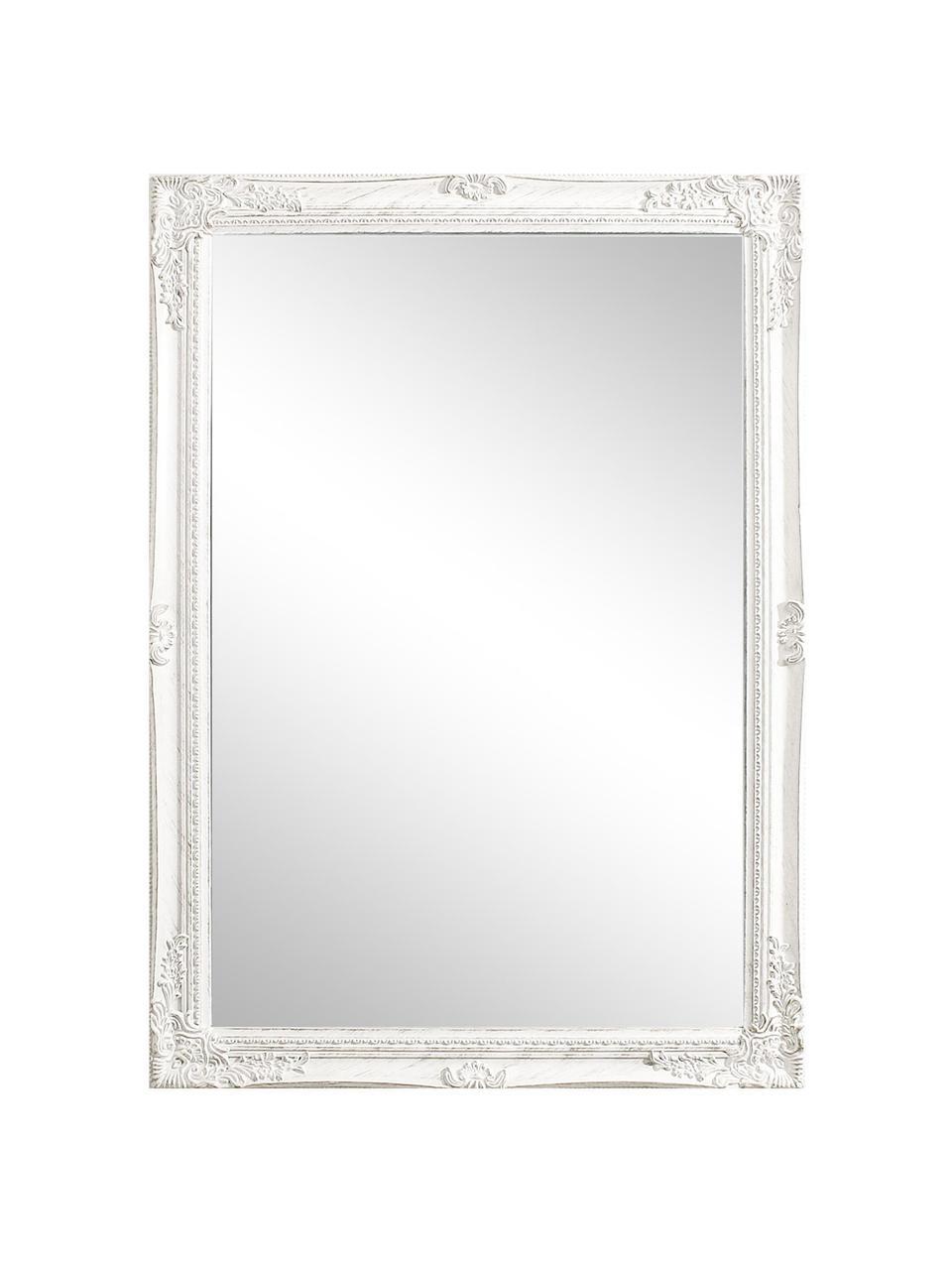 Eckiger Wandspiegel Miro mit weißem Holzrahmen, Rahmen: Holz, beschichtet, Spiegelfläche: Spiegelglas, Weiß, 72 x 102 cm