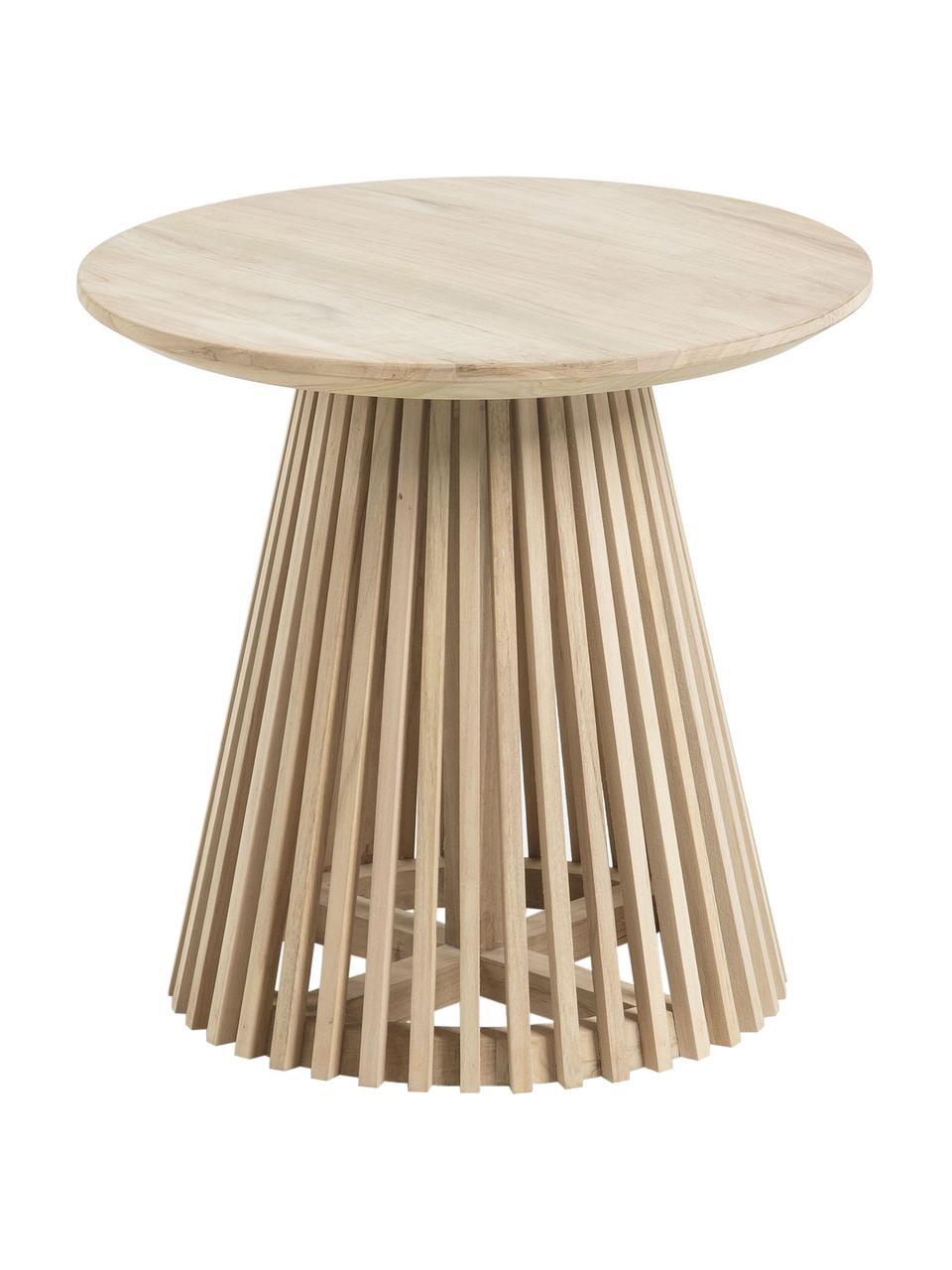 Ronde bijzettafel Jeanette van hout, Gelakt teakhout, Teakhoutkleurig, Ø 50 x H 48 cm