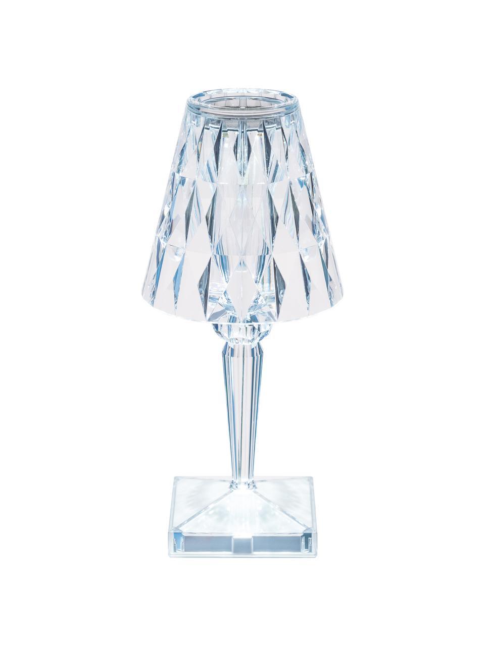 Kleine Design-LED-Tischlampe Battery, Lampenschirm: Kunststoff, Lampenfuß: Kunststoff, Transparent, Ø 12 x H 26 cm
