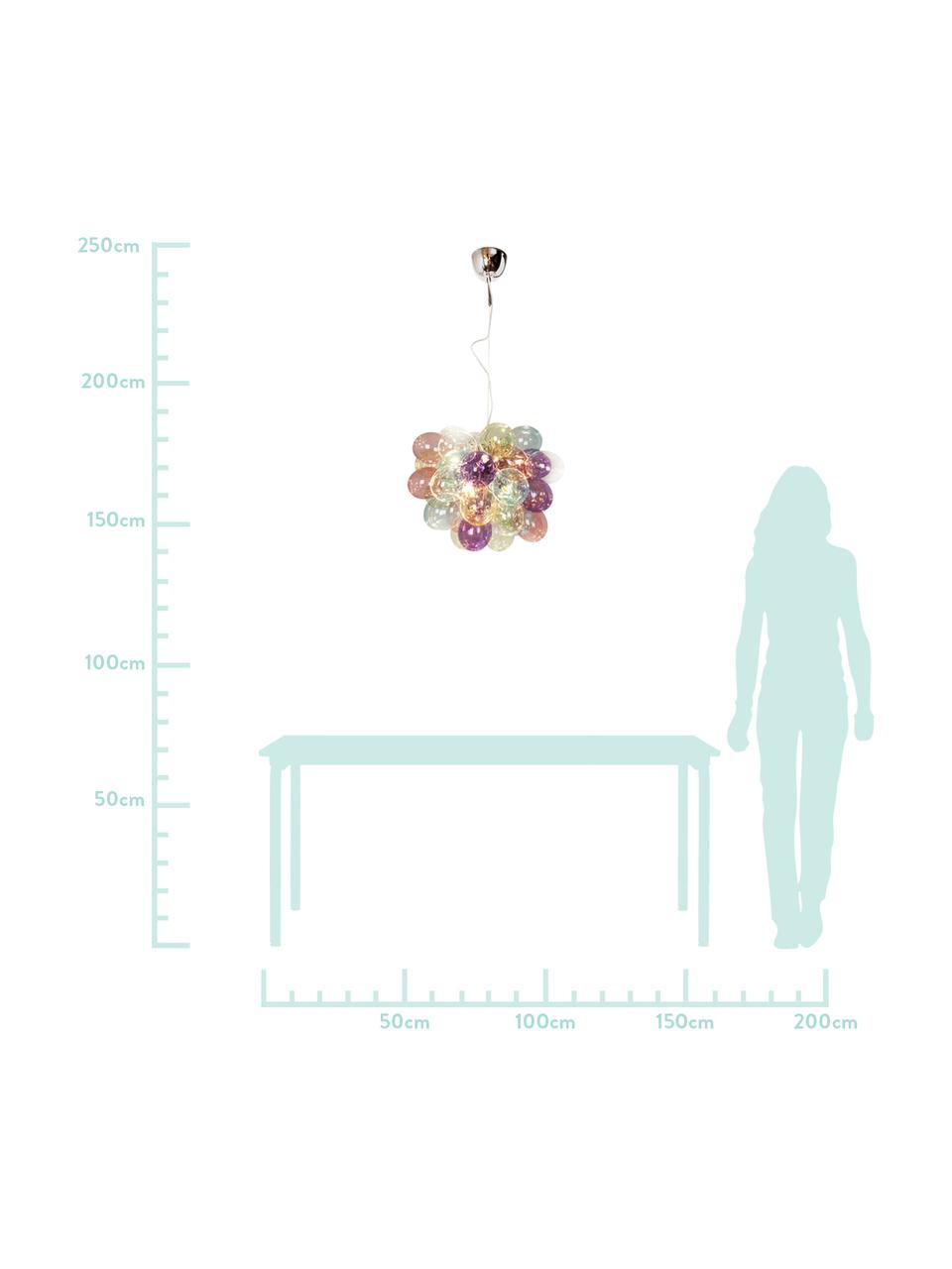 Glaskugel-Pendelleuchte Gross, Baldachin: Metall, beschichtet, Mehrfarbig, Ø 50 x H 45 cm