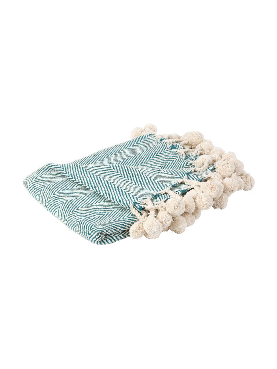 Plaid con pompon Lilen, 100% cotone, Blu, beige, Larg. 130 x Lung. 150 cm