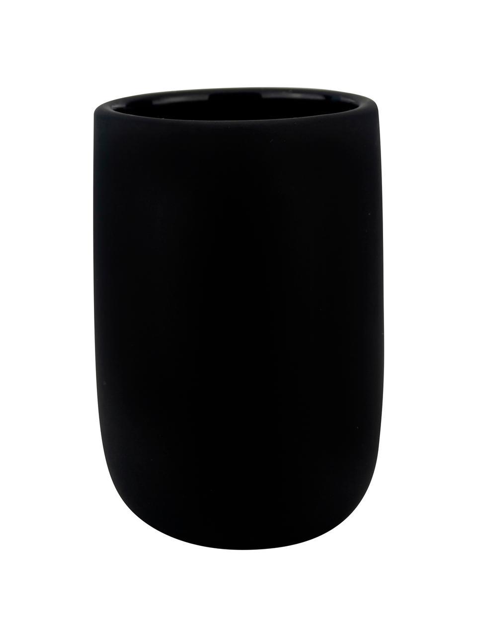 Keramik-Zahnputzbecher Lotus, Keramik, Schwarz, Ø 7 x H 10 cm