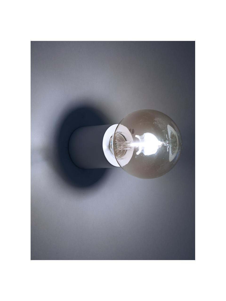 Applique Chanty, Metallo verniciato a polvere, Bianco opaco, Ø 6 x Prof. 7 cm