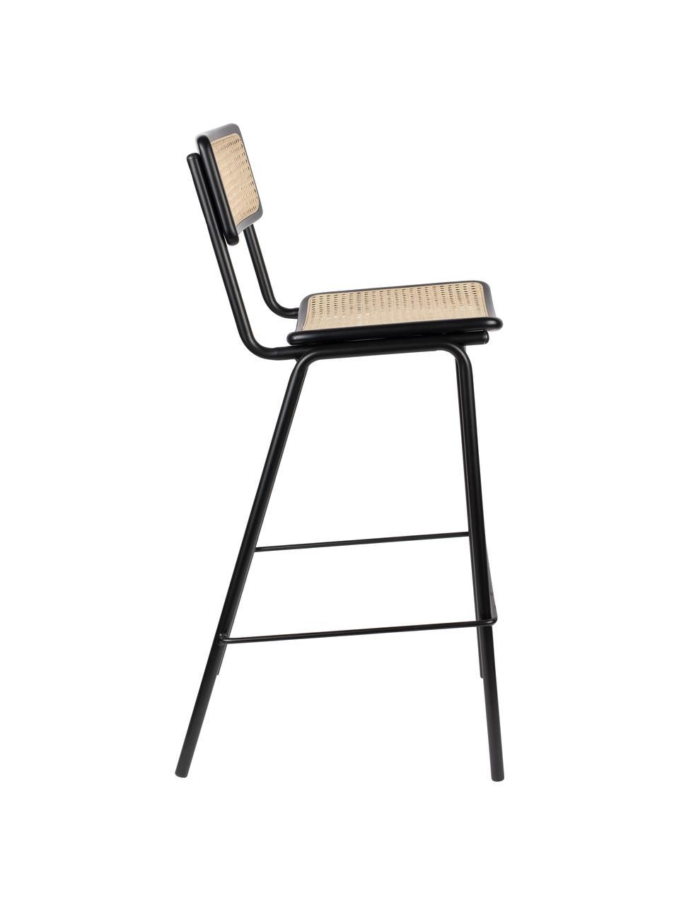 Schwarzer Barhocker Jort mit Wiener Geflecht, Sitzfläche: Rattan, Rahmen: Birkenholz, massiv, lacki, Beine: Stahl, pulverbeschichtet, Schwarz, 47 x 106 cm