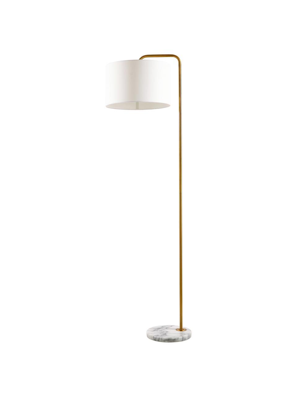 Stehlampe Montreal mit Marmorfuß, Lampenschirm: Textil, Lampenfuß: Marmor, Gestell: Metall, galvanisiert, Weiß, Goldfarben, Ø 35 x H 155 cm